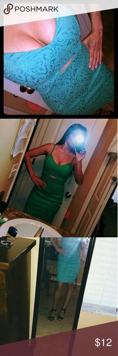 Mint green dress Cut out mint green dress. Size 1-2 but fits more like 3-4 XOXO Dresses Mini