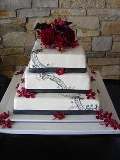 Wedding, Cake, White, Red, Black, The artful baker