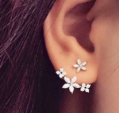 """The Tahlia"" Cz Earring Jacket Dainty Flower Stud Earrings"