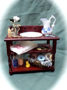 Dolls House Miniatures - Mahogany Washstand and Accessories. $50.00, via Etsy.