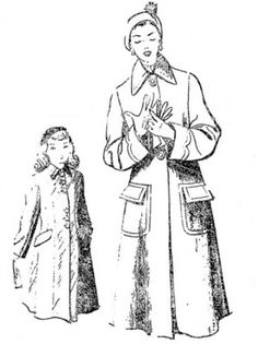 ANOS DOURADOS: IMAGENS & FATOS: FATO - Moda feminina dos anos 50  Casaco de lã com bolsos externos e  gola bem grande para senhoras. Para as mocinhas os bol sos são escondidos. Ano de 1951.
