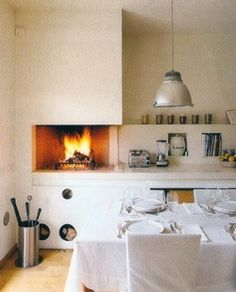 alice waters style open kitchen fire