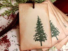 Natural Pine Tree Gift Tags // Christmas Tree // door MyCardCupboard
