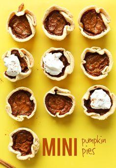 MINI Vegan Pumpkin Pies! 10 ingredients, Coconut Oil Pie Crust, SO delicious! #vegan #pie #pumpkin #fall #thanksgiving #easy #recipe