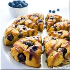 Glazed blueberry scones. Low carb, paleo, gluten-free, and super easy!