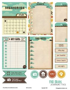 Free Printable Download – Fall Journaling Elements This free printable has 17 elements on an 8 1/2″ by 11″ pdf file.   The file size is 8.64 MB.