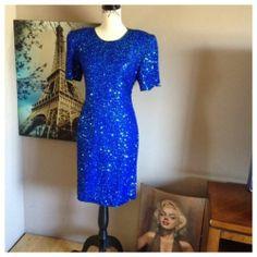 Vintage Laurence Kazar Silk Sequined Dress | eBay