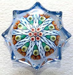 Vintage early Strathearn Milliefiori Latticino Star 9 Spoke moulded pressed Art Glass Paperweight P12 1-1-2 cartwheel c1965 - 70 by GalleryAntiques