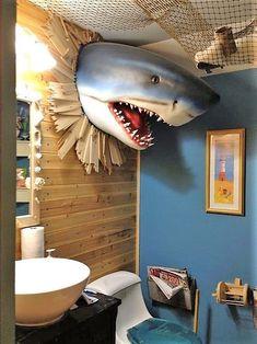 21 Terrifyingly Perfect Gifts For Shark-Loving Kids Make a splash with this bathroom decor. Shark Bathroom, Boho Bathroom, Nature Bathroom, Bathroom Faucets, Bathroom Ideas, Bathroom Cabinets, Bathroom Interior, Modern Bathroom, Ikea Bathroom