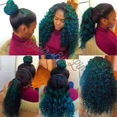 2 Part (Horizontal) Versatile Sew-In with Sew In Hairstyles, Side Part Hairstyles, Pretty Hairstyles, Black Hairstyles, Celebrity Hairstyles, Hairstyle Ideas, Wedding Hairstyles, Green Hair, Blue Hair