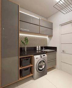 functional and stylish laundry room design ideas to inspire 41 Modern Laundry Rooms, Laundry Room Layouts, Laundry Room Organization, Storage Organization, Küchen Design, House Design, Interior Design, Design Ideas, Laundry Room Inspiration