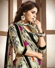 Cream Color Satin Party Wear Sarees :  Avishka Collection  YF-43046