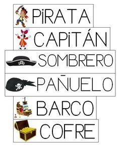 Mi grimorio escolar: VOCABULARIO PIRATA Spanish Games, Spanish Vocabulary, Vocabulary Words, Learning Spanish, Spanish Classroom Activities, Pirate Activities, Familia Y Cole, The Pirates, Pirate Birthday