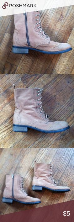 Yoki lace up boots size 7 •Good used condition •Normal wear (scratches, markings, etc) •Still in good condition overall •Zips up on one side •Faux suede material •Also has laces •Brand: Yoki •Size: 7 •Color: Tan •NO TRADES Yoki Shoes