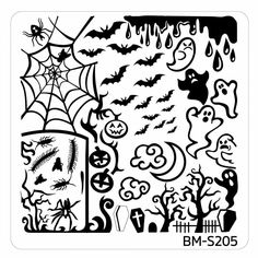 Halloween Square Nail Art Stamping Plates - BM-S205, Creepy Creatures