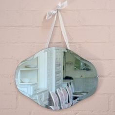 Chic Curvy Beveled Mirror with Ribbon Hanger