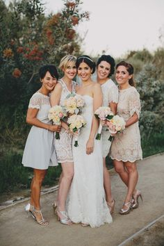 Love the bridesmaid dresses how they are all different but Lacey!!!!! - Monique Lhuillier Cheyenne | PreOwnedWeddingDresses.com