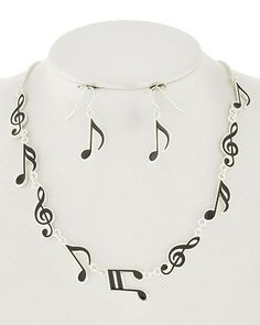 """Silver tone and black epoxy music themed necklace set. Necklace 16 1/2"""". Earrings 1 3/8""""."""