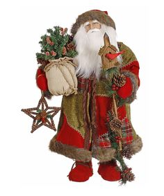 Red & Green Old-World Santa Figurine