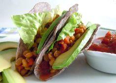 Yummy Lentil Tacos Recipe .... and a big slice of avocado for good health!! ... From veganinthefreezer.com