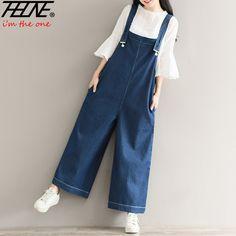 f43020c2548a4 THHONE Women Jeans Jumpsuit Romper Denim Pants Wide Leg Vintage Casual  Trousers Long Overalls Vaqueros Denim Jumpsuits Female-in Jumpsuits from  Women's ...
