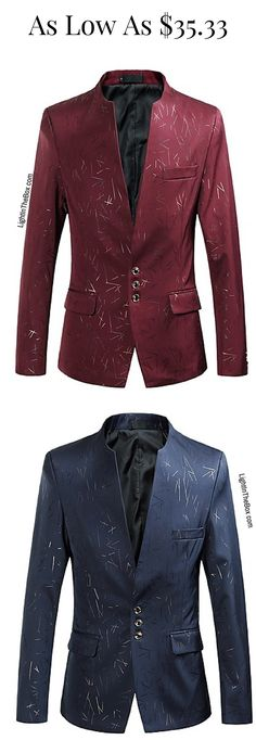 Men Chinese authentic elegant spring blazer in rich colours - wine, royal blue, dark green, grey - at just $35.33. Click on the picture to shop.