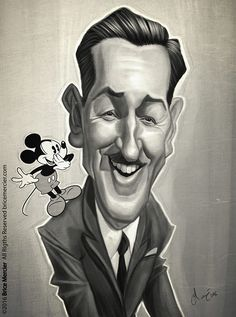 Caricature de Walt Disney par Brice Mercier Animation Legends