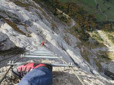 Fürenwand Klettersteig - Leiter mit Tiefgang