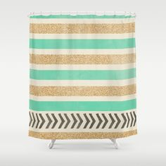 Buy Shower Curtains featuring MINT AND GOLD STRIPES AND ARROWS by Allyson Johnson. Made from 100% easy care polyester our designer shower curtains are printed in the USA and feature a 12 button-hole top for simple hanging.