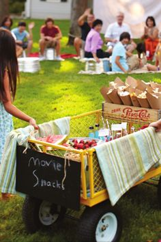 Outdoor movie nite snacks- borrow the wagon from nana Backyard Movie Party, Outdoor Movie Party, Outdoor Movie Screen, Backyard Movie Nights, Outdoor Movie Nights, Outdoor Theater, Outdoor Cinema, Outdoor Fun, Movie Night Snacks