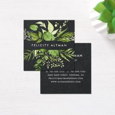 Banana leaves palm tree tropical business card event gifts diy cyo wild meadow black botanical square business card colourmoves