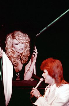 David Bowie (with Amanda Lear) during his last show as Ziggy Stardust, filmed mostly at The Marquee Club in London, England, from October 18-20, 1973  Photo by: NBC/NBCUniversal/Getty