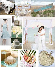 Simple, elegant Beach themed wedding #beach #weddings #moodboard