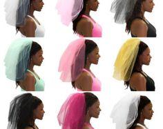 Sparkle Tulle Veil - Bachelorette Party Veil, White Bachelorette Veil, Bachelorette Party, Bridal Shower Veil, Hen Party Veil