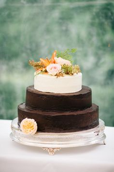 unusual chocolate frosted wedding cake