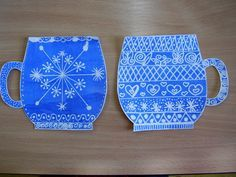 Winter pattern project for paint in blues, trace a mug and draw patterns with a silver sharpie Winter Art Projects, Winter Project, Winter Crafts For Kids, School Art Projects, Winter Kids, Art For Kids, Christmas Art, Winter Christmas, January Art