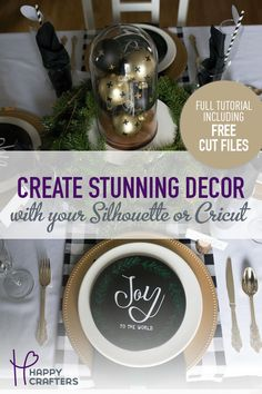 Learn how to set a stunning Christmas table using htv, adhesive vinyl, and your Silhouette. Plus, download free SVG cut files to complete the look!