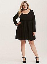 Black Georgette Strappy V-Back Skater Dress, DEEP BLACK
