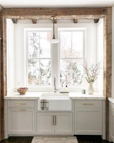 Today we have a round-up of inspiring non-white kitchens for those of you craving a different look. Sherwin Williams Repose Gray Cabinets - Gold Hardware - Quartz Counter Tops - Wood Beams in Kitchen - Rustic Kitchen - Farmhouse Sink - Farmhouse Kitchen Farmhouse Sink Kitchen, Rustic Kitchen, Kitchen Ideas, Eclectic Kitchen, Kitchen Layout, Kitchen Sink Window, White Farmhouse Sink, Farmhouse Windows, Farmhouse Style