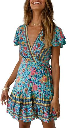 fd29042567486 ZESICA Women's Summer Wrap V Neck Bohemian Floral Print Ruffle Swing A Line  Beach Mini Dress
