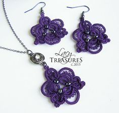 Handmade LACE Necklace & Earrings . Lace jewelry by LacyTreasures