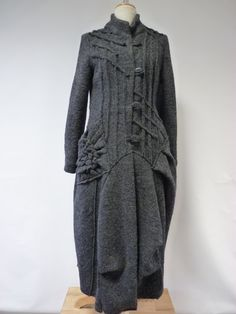 Artsy exceptionnel feutrée long manteau gris M par ZUZABARTSHOP