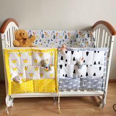 Baby Bed Hanging Storage Bag Cotton Newborn Crib Organizer Toy Diaper Pocket for Crib Bedding Set Accessories en Conjuntos de ropa de cama de La madre y Los Niños en AliExpress.com | Alibaba Group