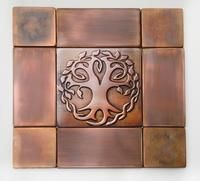 Copper wall, Handmade tiles, SET of COPPER TILES , Lovely combination of copper tiles that will make great kitchen basckplash Copper Wall Art, Metal Wall Art, Metallic Wall Tiles, Copper Backsplash, Kitchen Backsplash, Unique Tile, Handmade Tiles, Tile Art, Floral Wall