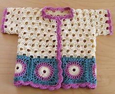 Little girl's jacket pattern by Helen Idarand Too adorable. Little girl's crochet jacket. Crochet Baby Cardigan, Crochet Baby Clothes, Crochet Jacket, Knit Crochet, Crochet Girls, Crochet For Kids, Knitting For Kids, Baby Knitting, Crochet Dress Outfits