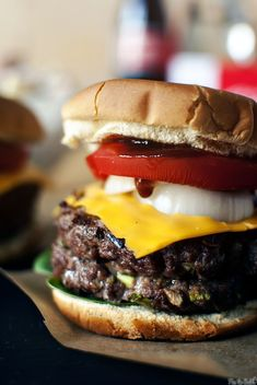 Whiskey Burgers - whiskey with a beer cheese sauce in the middle of the burger? Hello GOR-geous!