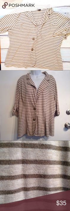 TORRID Plus Size Lightweight Striped Knit Blazer Torrid plus size lightweight knit striped blazer style cardigan. Great neutral taupe color with darker taupe/grey stripes. Cropped and cuffed sleeves. Double button closure. Has minor piling. Torrid size 3. Soft and stretchy. Perfect for layering and can be dressed up for a business casual look or down with a tee and shorts for an everyday look. No modeling. Smoke free home. I do discount bundles. torrid Jackets & Coats