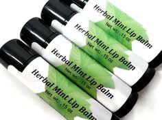 Herbal Mint Lip Balm, Natural Lip Balm, Flavored Lip Balm, Gift under 5