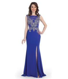 8ZLa6qjwR8_Royal_Cap_Sleeve_Beaded_Bodice_High_Slit_Dress.jpg (1095×1275)