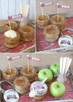 Mason Jar Apple Pie Recipe from Glorious Treats  Custom Pennants and Scallop Stickers by Loralee Lewis www.LoraleeLewis.com